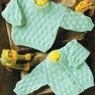 Vintage Knitting Pattern Baby Basket Weave Textured Cardigan Pullover Sweaters Jumper PDF Instant Digital Download Preemie - 2 yrs DK 8 Ply