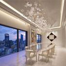Custom-Staircase-chandelier-lighting  MURANO GLASS LEAVES   high-ceiling-foyer-lighting amazing-dini