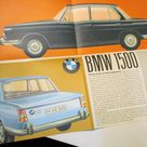 Original Vintage Circa 1962 BMW 1500 Fold Out Sports Touring Car Folder/Brochure in English