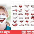 30 CARTOON MOUTHS FACE MASK svg pattern, mouth cricut svg (545072) | SVGs | Design Bundles