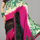 Exquisite black ivory pink embroidered saree