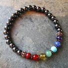 Hematite & 7 Chakra Gemstone Bracelet with Copper Beads - Reiki Charged Metaphysical Jewelry