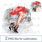 Fashion shoes 2PNG files for Sublimation fashion trend Design Light or Dark skin Nice legs for shirt