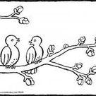 deux oiseaux sur une branche - kiddicoloriage