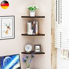 Eckwandregal, Schwarz, 3 Ebenen, schwimmendes Eckregal, Wandregal, Bücherregale, Wandregal, Bücherregale, Wohnmöbel, Bürodekor für Schlafzimmer zu Hause Wohnzimmer