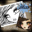 PRINTABLE Amber Eyes Mermaid Digi Stamp Coloring Page Fantasy Art Hannah Lynn