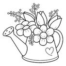 Garden Watering Can with Flowers Rubber Stamp   Zazzle.com