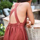 Linen Pinafore Linen Apron Dress Rust Red Dress Linen | Etsy