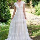 Boho wedding dress lace wedding dress cap sleeve bohemian   Etsy