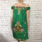 Handmade Women's Green Floral Embroidered Mexican Dress - Size Medium - Mini Dress - Mexican Fiesta - Vestido Artesanal Bordado Mexicano