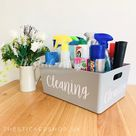 Multi Listing GREY STORAGE BASKET Personalised Home Organisation Caddy Cleaning Organiser Mrs Hinch Inspired Hinching  Laundry Box