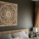 White Teak Wood Art Panel Bed Bohemian Headboard 35 90cm   Etsy