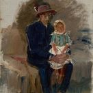 Ladislav Mednyánszky   Seated Gypsy with a Girl on his Knees   fine art print   Poster print canvas paper / 30x40cm   12x16