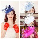 Navy Blue Fascinator with Veil, Womens Tea Party Hat, Church Hat, Derby Hat, Fancy Hat, Ivory Hat, wedding hat, British Hat - Purple