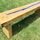 Winter Sale Solid Oak Resin Ocean - Blue 5ft Huge Rustic Chunky Reclaimed Railway Sleeper Garden Dining Table Bench