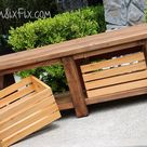 X-Leg Wooden Bench with Crate Storage for Under $40