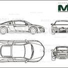 Audi A8 L 6.0 Quattro 2004   2D drawing blueprints   25512   Model COPY   English