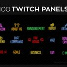 Rainbow Neon Twitch Panels Streaming | Premade PNG Twitch Panels Set Bundle | Twitch Panel Package
