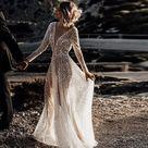 Sparkling Boho A Line Deep V Neck Wedding Dress Beach Bridal Gown   White / 4
