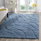 SAFAVIEH Florida Shag Collection SG472 Abstract Wave Non Shedding Living Room Bedroom Dining Room Entryway Plush 1.2 inch Thick Area Rug, 9'6