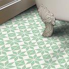 Vinyl Floor Tile Sticker - Floor decals - Carreaux Ciment Encaustic Scandinava Tile Sticker Pack in Lichen