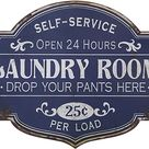 Creative Co Op Vintage Metal Laundry Room Decorative Wall Sign, Distressed Blue