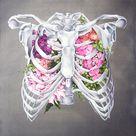 Floral Ribcage Print of Oil Painting - Anatomical Art Print - Human Body - Medical Art
