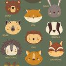 FOREST LIFE PORTRAIT ANIMALS | Baby Animals clipart | Wild animals clipart | Deer | Fox | Raccoon