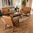 George Oliver Dain Mid-Century Modern Tan Faux Leather Upholstered And Walnut Brown Finished Wood 3-Piece Living Room Set | Wayfair Canada
