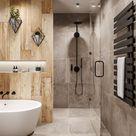Modernes Bad Beton- und Holzoptik