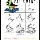 how to draw an alligator — rawten kids