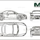 Audi TT Roadster 2007   2D drawing blueprints   25538   Model COPY   English