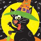 Halloween Game, Pin the tail on the cat,Halloween Party, Witches Cat, digital download, AMB-358