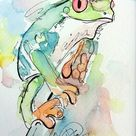 Tree Frog - Original Ink and Watercolor painting