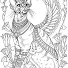 Egyptian Cat  Printable Adult Coloring Page from Favoreads   Etsy