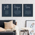 24x36, Faith Hope Love, Set of 3 Prints Farmhouse Navy Blue Decor wall art print, Believer Scripture Gift, Bible Verse Wall Art,Set 3 Print