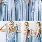 Convertible Simple Blue Jersey High Quality Custom Floor-Length Cheap Bridesmaid Dresses, WG80