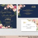 Blush Navy Gold Wedding Invitation Template Set - Pink Flowers Watercolor Invite-DIY Printable Invitations-PDF-Download Instantly |VRD157HDN
