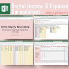 Rental Income & Expense Spreadsheet   for Single Property   Airbnb Rent and Expense Tracking   MS Excel
