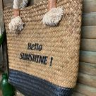 French Ibiza Market Shopping Basket Woven Rope Handles Storage Tote Shoulder Straw Beach Bag Wedding Weekend Holdall Black or White Bags