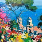 Ravello Villa Rufolo Painting on Canvas, Original Art, Italy Art, Seascape Painting, Amalfi Coast, Art for Living Room, Large Wall Art, Gift