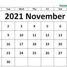 November 2021 Calendar Excel Template