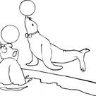 Seal Play The Ball With A Man coloring page | Free Printable Coloring Pages