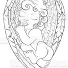 Christmas scene of baby angel and his wings. Black and white. Pattern...