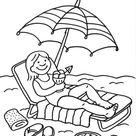 Ausmalbild Sommer: Eisessen am Strand kostenlos ausdrucken