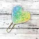 Glitter Feltie Clip Chunky Glitter Heart Planner Clip, Heart Feltie Clip Heart Paperclip Bookmark, P