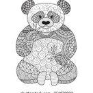 Hand Drawn Zentangle Panda Coloring Book: image vectorielle de stock (libre de droits) 351079022