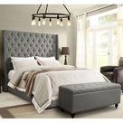 Diamond Sofa PARKAVEGREKBED Park Avenue Eastern King Tufted Bed Vintage Wing Grey Linen