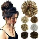 Real Natural Curly Messy Bun Hair Piece Scrunchie Hair Extensions Chignon Grey H  | eBay