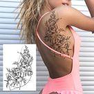 Sexy Flower Temporary Tattoos For Women Body Art Painting Arm Legs Tattoos Sticker Realistic Fake Black Rose Waterproof Tattoos 923-1 - CLZ132